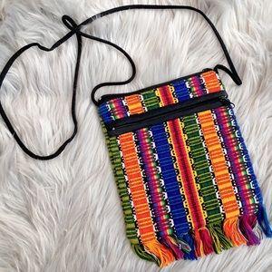 Handbags - Woven Rainbow Fringe Crossbody Striped Pouch Bag